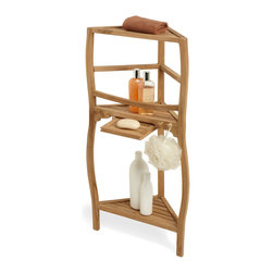 "36"" Three-Tier Teak Corner Bath Shelf With Curved Legs - Gently curving legs add a touch of grace to the simply beautiful Three-Tier Teak Corner Bath Shelf, made of naturally durable, moisture-resistant hardwood."