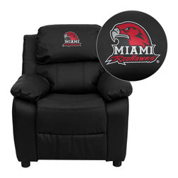 "Flash Furniture - Miami University of Ohio RedHawks Black Leather Kids Recliner with Storage Arms - Get young kids in the college spirit with this embroidered college recliner. Kids will now be able to enjoy the comfort that adults experience with a comfortable recliner that was made just for them! This chair features a strong wood frame with soft foam and then enveloped in durable leather upholstery for your active child. This petite sized recliner features storage arms so kids can store items away and retrieve at their convenience. Miami University of Ohio Embroidered Kids Recliner; Embroidered Applique on Headrest; Overstuffed Padding for Comfort; Easy to Clean Upholstery with Damp Cloth; Flip-Up Storage Arms; Storage Arm Size: 3.25""W x 6""D x 11""H; Solid Hardwood Frame; Raised Black Plastic Feet; Intended use for Children Ages 3-9; 90 lb. Weight Limit; Black LeatherSoft Upholstery; LeatherSoft is leather and polyurethane for added Softness and Durability; CA117 Fire Retardant Foam; Safety Feature: Will not recline unless child is in seated position and pulls ottoman 1"" out and then reclines; Overall dimensions: 25""W x 26"" - 39""D x 28""H"