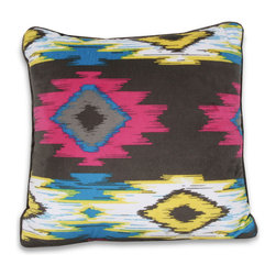 Dormify - Wanderlust Aztec Pillow - 16X16 - A tribal treat.  Bold and energetic in color, the Wanderlust Aztec pillow will definitely liven your space. The soft microfiber makes this pillow appropriate for your bed, and with the piping to match, it becomes the perfect decorative accessory to your couch. As a part of the rest of the Wanderlust Aztec ensemble or as a solo act – this pillow will surely stand out.