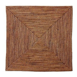 """Tava Charger, Square, Honey stain - Crafted of naturally sturdy and beautiful rattan, our Square Tava Charger is the perfect backdrop for white or colorful dinnerware.14"""" squareHand woven of natural rattan."""