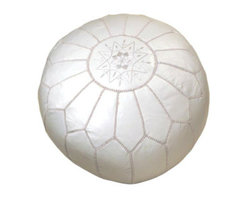 White Moroccan Leather Pouf - Poufs are all the rage these days. A polished spot to rest your feet, this trendy footstool brings intrigue and adds refinement.