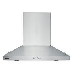 "GE Monogram - GE Monogram® 30"" Wall-Mounted Vent Hood - A GE Monogram range hood provides the power necessary to capture the smoke and steam produced by high-performance cooking equipment. All hoods are equipped with a variable-speed fan that helps reduce energy usage and sound levels by operating continuously at a low speed, reaching maximum power only as needed for boiling, sautéing and stir-frying."