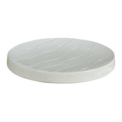 Montes Doggett - Handmade Appetizer Tray, Round - This beautiful ceramic tray looks like it was made for a birthday cake. You could proudly display dessert in the center of the table and then easily clean it in the dishwasher at the end of the party. You have to love a decorative serving piece that's a breeze to clean.