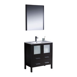 """Fresca - Torino 30"""" Espresso Vanity w/ Integrated Sink Cascata Brushed Nickel Faucet - Fresca is pleased to usher in a new age of customization with the introduction of its Torino line.  The frosted glass panels of the doors balance out the sleek and modern lines of Torino, making it fit perfectly in eithertown or country decor."""