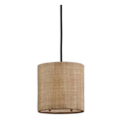 Uttermost - Uttermost Dafina Mini Pendant Light Fixture in Antiqued Burlap - Shown in picture: Antiqued Burlap Weave With Natural Slubbing And A White Inner Liner. Frosted Glass Diffuser Included. Antiqued burlap weave paired with a white inner liner infuse a casual look with sophisticated appeal. Frosted glass diffuser included.
