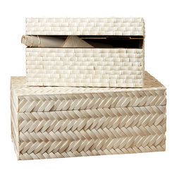 Basketweave Bone Boxes - Set of 2 - Faux bamboo, staple of global decor in the colonial age, and herringbone basketweave, timeless addition of crafted texture to the interior, pattern this Set of Two Basketweave Bone Boxes. This pair of rectangular keepsake boxes is crafted from individual, shapely tiles of white bone, adding classicism to a tone-on-tone accessory ideal for altering the height and level of vignettes.