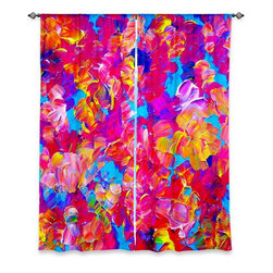"""DiaNoche Designs - Window Curtains Lined by Julia Di Sano - Fantasy Floral - DiaNoche Designs works with artists from around the world to print their stunning works to many unique home decor items.  Purchasing window curtains just got easier and better! Create a designer look to any of your living spaces with our decorative and unique """"Lined Window Curtains."""" Perfect for the living room, dining room or bedroom, these artistic curtains are an easy and inexpensive way to add color and style when decorating your home.  This is a woven poly material that filters outside light and creates a privacy barrier.  Each package includes two easy-to-hang, 3 inch diameter pole-pocket curtain panels.  The width listed is the total measurement of the two panels.  Curtain rod sold separately. Easy care, machine wash cold, tumble dry low, iron low if needed.  Printed in the USA."""