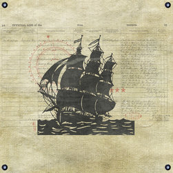 One Red Buffalo - Vintage Ship Silhouette II - The perfect wall decor with nautical character to show your passion for the sea. This print is complete with subtle seafaring elements on a weathered looking canvas background and finished off with nautical inspired grommets in all four corners.
