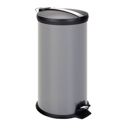 Honey Can Do - 30 Liter Metal Step Trash Can - Includes removable inner bucket. Carrying handle. Easily wiped clean. 30L capacity. 25 in. H x 11.5 in. W