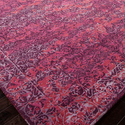 Jaipur Rugs - Hand-Knotted Abstract Pattern Wool/ Bamboo Silk Purple/Pink Area  Rug, Purple/Pi - The hand knotted  Global collection by Jenny Jones takes inspiration from faded textures in stunning color combinations. Each rug has its own story and is beautifully executed in hand carded wool with bamboo silk.