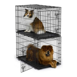 "Midwest Homes For Pets - Solutions Stackable Dog Crate - Features: -One stackable crate included per order; must order 2 to stack. -Tough, interlocking legs for secure stackability. -Easy to clean ABS plastic pan. -Easy folding design. -Safe and secure slide bolt latches. -Black epoxy powder coating. Specifications: -Dimensions: 36""L x 23""W x 24""H. -For Dogs weighing 41-70 lbs. -Openings Dimensions (each): 1.5""W x 5.75""H."