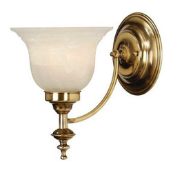 Dolan Designs Lighting - Sconce with Alabaster Glass - 667-18 - This solid brass sconce features an alabaster glass shade and is an excellent choice as a light source next to a bathroom mirror. The piece is versatile enough for other placements as well. The old-brass finish provides character, while a slightly scalloped pattern adds dimension and depth to the shade. Takes (1) 100-watt incandescent A19 bulb(s). Bulb(s) sold separately. UL listed. Dry location rated.