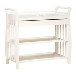 AFG Baby - AFG Baby Nadia Changing Table in White - The Nadia Changing Table is constructed of solid pine wood available in a variety of classic finishes. The sleigh style changing table is designed with safety and comfort in mind. A safety strap and 1-inch pad is offered for the changer top. Storing your baby necessities has never been easier with the attached drawer, which glides smoothly over metal runners, and two open shelves for other items. A smooth sleigh style changing table can be paired with any Athena crib.