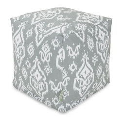 Majestic Home Goods - Gray Raja Small Cube - Add style and color to your living room or bedroom with the Majestic Home Goods Raja small cube ottoman. This cube is perfect for use as a footstool, side table or as extra seating for guests. Woven from cotton duck or twill, these cube ottomans are durable yet comfortable. The beanbag inserts are eco-friendly by using up to 50% recycled polystyrene beads, and the removable zippered slipcovers are conveniently machine-washable. Wash in cold water with a mild detergent such as Wool-Lite and hang dry. Wash in cold water with a mild detergent such as Wool-Lite and hang dry.