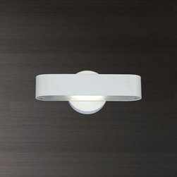 Eurofase - Eurofase 20571-030 Dash 1 Light Wall Sconce in White 20571-030 - A discreet source of indirect light (up and down). This fluorescent ADA wall sconce brings modern style to any application.Curved metal detail top and bottom frosted glass diffusers PL BulbBulb Base: PL Bulb Included: Yes Bulb Type: Fluorescent Collection: Dash Extension: 4 Finish: White Height: 4-3 4 Light Direction: Down Lighting Number of Light: 1 Safety Rating: cETLus Shade Finish: Frosted white glass Socket 1 Base: PL Socket 1 Max Wattage: 18 Style: Contemporary Modern Suggested Room Fit: Bedroom, Living Room Voltage: 120 Wattage: 18 Width: 11-1 4
