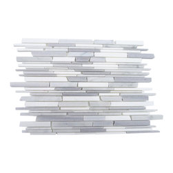 "GlassTileStore - Gray Clouds Free Form Cracked Joint Brick Marble Tile - Gray Clouds Free Form Cracked Joint Brick Marble  Tile             This marble mosaic will provide endless design possibilities from contemporary to classic. It creates a great focal point to suit a variety of settings. The mesh backing not only simplifies installation, it also allows the tiles to be separated which adds to their design flexibility. The tiles are finished with a cracked joint look. The natural material will have a color variation.         Chip Size: 1/5"" 1/3"" 5/8"" x Random   Color: Cippillino, White Carrera, White Thassos   Material: Marble   Finish: Polished   Sold by the Sheet - each sheet measures 12"" x 12"" (1 sq. ft.)   Thickness: 10mm   Please note each lot will vary from the next.            - Glass Tile -"