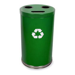 Witt Industries - Witt Industries Combination 33 Gallon Green Recycling Bin - 18RTGN - Shop for Recycling Bins from Hayneedle.com! Additional FeaturesIncludes recycling labels to clearly mark your binLid is easy to put on and lift offDurable steel constructionBin holds 33 gallons of recyclablesStart promoting recycling in the workplace with this durable steel recycling bin. The Witt Industries Combination 33-Gallon Green Recycling Bin is designed to hold up to three different recyclable materials and includes a lid with three openings to make keeping your recyclables separated easy. Designed to hold bottles cans glass paper or plastic the bin comes with recycling labels to clearly designate it as part of the recycling program. The lid is easy to pull off and three liners are included to help simplify the recycling process. The recycling bin holds up to 33 gallons and measures 18W x 33H inches.About Witt IndustriesWith its rich and established history in the steel waste receptacle manufacturing industry that dates back to 1887 Witt Industries has been in the forefront with its innovation quality and service. The company's founder George Witt invented and patented the first corrugated galvanized ash can and lid back in 1889 and the company has never looked back. Today Witt Industries is part of the Armor Metal Group and is a woman-owned business.