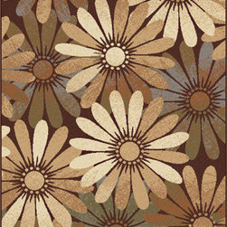 Tayse Rugs - Elegance Beige and Blue Rectangular: 5 Ft. x 7 Ft. Rug - - Radiant daisies bring a burst of liveliness to young, teen, and cultivated rooms equally with this transitional to contemporary area rug. Soft gradients of brown, beige, blue and green. Soft polypropylene fibers in a plush 0.39'' pile height. Vacuum and spot clean.  - Square Footage: 35  - Pattern: Floral  - Pile Height: 0.39-Inch Tayse Rugs - 5350  Multi  5x7