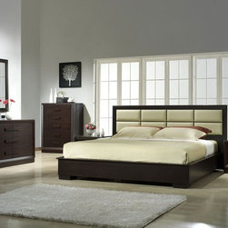 Elegant Leather Designer Bedroom Furniture Sets - Boston bedroom set with beige leather headboard. Boston Bedroom from offers alluring designs and colors of the modern bedroom.