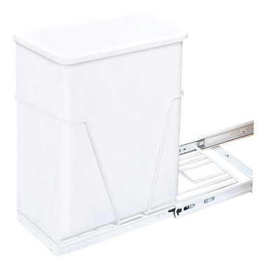 Hardware Resources - 35 or 50 Quart Single Pullout Waste Container System White - 35 or 50 Quart Single Pullout Waste Container System.   10 1/4 x 22    Full Extension Ball Bearing Slides.   Heavy Duty White Wire Construction.   35 or 50 qt white polymer trash can sold separately.   Designed for use with 13 gallon tall kitchen trash bags.   Mounts to Floor of Cabinet.  Door Mountable (kit sold separately).  Mounting Hardware and Instructions Included.   For standard 15 cabinets.