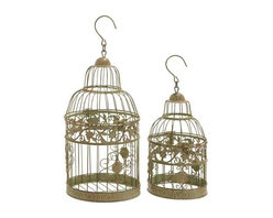 "Benzara - Metal Birdcages in Dull Gold Antique Polish - Set of 2 - Metal Birdcages in dull gold antique polish - set of 2. Bejewel your favorite room with elegance and sophistication with this stylish and gorgeous bird cage will. It comes with a following dimensions 8""W x 8""D 14""H. 6""W x 6""D x 11""H."