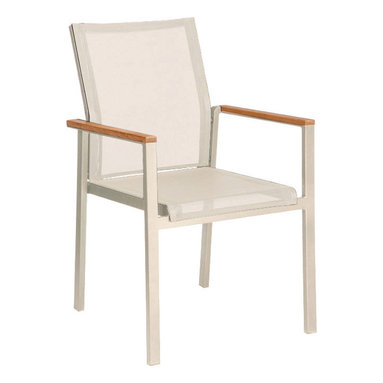 Barlow Tyrie - Barlow Tyrie Mercury Sling Dining Armchair - Barlow Tyrie has been making high-quality outdoor furniture since 1920 and features classic and modern styles of teak, all-weather wicker and mixed material furniture combining teak, stainless-steel and sling.