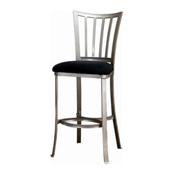 Hillsdale - Hillsdale Delray Non-Swivel Bar Stool - 4660-830 - A contemporary twist on the mission design, the Delray Stool is simply striking. Classic lines are modernized by the pewter finish and black micro-suede fabric. The backs of these non-swivel stools are slightly swayed and the legs are subtly flared. The o