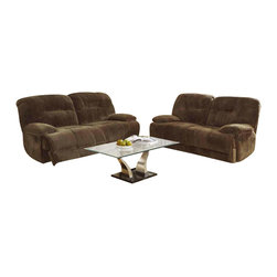 Homelegance - Homelegance Geoffrey 3 Piece Reclining Living Room Set in Chocolate Plush Microf - Sure to please the gadget lover in any household is the Geoffrey Collection. With the touch of a button you automatically recline in this comfortable seating offering. Further enhancing this electronic wonder is the textured chocolate plush microfiber cover. Also available in traditional manual pull reclining mechanism.