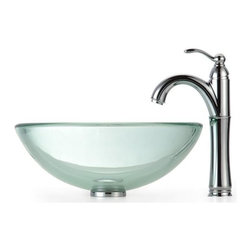 Kraus - Clear 19mm thick Glass Vessel Sink and Rivera Faucet - Finish: Oil Rubbed Bronze