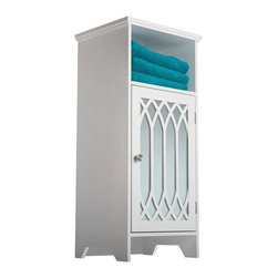 None - Kathy White 1-door Mirror Floor Cabinet with Open Shelf - The Kathy single door floor cabinet features one mirrored door with graceful cathedral arched panels and one open shelf in a white finish. The cabinet's classic design offers ample storage and will complement your decor.
