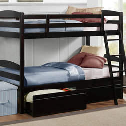 Homelegance - Homelegance Meyer Twin over Twin Bunk Bed in Espresso - Bunk beds provide the ultimate function in space saving bedroom arrangements. The Exuberance Collection's espresso Finish blends effortlessly into a multitude of children's room designs. The bunk is Ready to assemble and features coordinating ladder and under bunk storage drawers. Whether sharing a bedroom with their siblings or just having the extra space for their best friend  children of all ages will clamor for the top bunk!