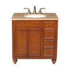 "Stufurhome - 36 Inch Traditional Single Sink Bathroom Vanity - This classic single sink bathroom vanity with rich brown tones is the perfect choice for any bathroom. Travertine top that is pre-drilled for a three hole faucet. The cabinet features two doors that open to a shelf and also includes three drawers for plenty of storage.  Dimensions: 36""W X 21""D X 36""H (Tolerance: +/- 1/2""); Counter Top: Travertine; Finish: Brown Tones; Features: 2 Doors, 3 Drawers; Hardware: Antique Brass; Sink(s): 15 3/8"" X 12 1/4"" Under Mount White Ceramic; Faucet: Pre-Drilled for Standard Three Hole 8"" Center (Not Included); Assembly: Fully Assembled; Large cut out in back for plumbing; Included: Cabinet, Sink; Not Included: Faucet, Backsplash."