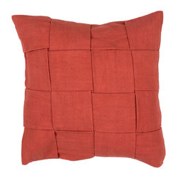 """Jaipur Rugs - Red color cotton tabbysolid01 poly fill pillow 18""""x18"""" - The Tabby collection is simple texture in solid colors that work with any style. Wide woven 100% cotton strips make for and updated twist on the nautical inspired collection."""