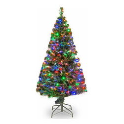 60 In. Fiber Optic Evergreen Christmas Tree with 150 Multi Lights - Measures 60 inch high with a 30 inch diameter. For indoor use only. Tip count: 255. Features additional 150 multicolor LED lights. Folding metal stand.
