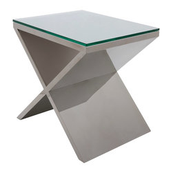 "Nuevo Living - Prague Side Table in Stainless Steel by Nuevo - HGTA634 - The Prague side table features a polished stainless steel frame and 1/2"" tempered glass top.  The geometric design makes this an excellent addition to home or business."