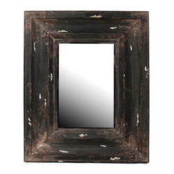 Privilege - Privilege Vintage Black Reclaimed Wood Wall Mirror - Add a charming touch to your home decor with this inviting wall mirror,showcasing a contemporary design and a rectangular shape. This mirror is crafted of glass and reclaimed wood in a vintage black finish.