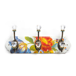 Flower Market Enamel Triple Wall Hook - White | MacKenzie-Childs - Extremely functional, very practical, and absolutely charming. Hand decorated enameled steel.