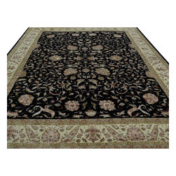 """Oriental Rug, 10'X13' Wool & Silk Hand Knotted Black & Ivory Kashan Rug SH10057 - The first way one normally finds silk in a rug is as a """"highlight""""  or """"silk touch"""". This will be seen in very high knot count traditional rugs typically. The silk is used in very small amounts throughout the design to highlight, add an extra dimension, and/or pop to the design. The second way silk is incorporated into a wool rug sometimes is when an entire element of a rug or color is done in silk. This is seen in both modern as well as traditional rugs. A design element, for instance a flower or bird, could be entirely carved out in silk within the rug. This design sometimes will also be depressed or raised (have a higher and lower pile) besides being done in silk so it will stand out even more within the rug."""