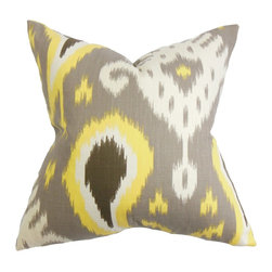 The Pillow Collection - Bentshaya Ikat Pillow Gray - Make this eccentric throw pillow the focal point in your living room or bedroom. This accent pillow features a unique ikat pattern in shades of gray, white, brown and yellow. You can toss this square pillow anywhere inside your home. Mix and match solids and other patterns to complement with this traditional-inspired decor pillow. Made of 100% soft cotton fabric. Hidden zipper closure for easy cover removal.  Knife edge finish on all four sides.  Reversible pillow with the same fabric on the back side.  Spot cleaning suggested.