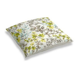 Aqua & Gray Watercolor Floral Custom Floor Pillow - A couch overflowing with friends is a great problem to have.  But don't just sit there: grab a Simple Floor Pillow.  Pile em up for maximum snugging or set around the coffee table for a casual dinner party. We love it in this gray, aqua and spring green watercolor floral. Your room will be awash with color and class.