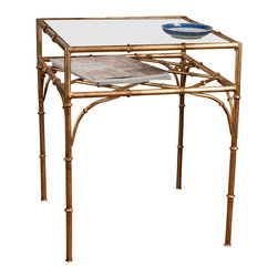 """Dessau Home - Square Bamboo Table (Antique Gold), Antique Gold - Color: Antique GoldBeveled glass top. Made from iron and glass. 17.5 in. L x 17.5 in. W x 22 in. HValue has always been an essential ingredient at Dessau Home. """"Essentials"""" represents a collection of well-appointed yet affordable home furnishings with a unique traditional styling that appeals to most transitional and contemporary home decorating needs."""