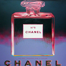 Chanel FS II354 - The combination of Coco Chanel's famous No.5 perfume and the artistic rendering from Andy Warhol in a multicolor screen print creates a highly sought after piece of iconic history. Allow this Chanel No.5 to stand alone in a bedroom or living space as the complexity of colors transforms any room. The Chanel bottle mirrors a quintessential image of female consumerism and glamour.