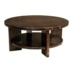TerraSur - Luna Round Coffee Table - More than just a round table, this solid wood beauty will wow you with its rich espresso finish and geometrically shaped legs. The drawer beneath the surface adds a whole other layer to your storage options, allowing you to keep coffee table books on the lower level, and leave the tabletop clear and spacious.