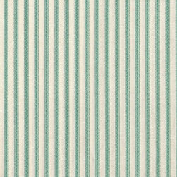 "Close to Custom Linens - 90"" Tablecloth Round Ticking Stripe with Toile Topper Pool Blue-Green - A charming traditional ticking stripe in pool blue-green on a cream background. Includes a 90"" round cotton tablecloth."