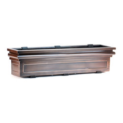 "H Potter - Williamsburg Window Box - 30"" - Dress up your windows in classic style with this elegant planter. The box looks like stacked molding made of stainless steel in an antiqued-copper finish for a timeless look."