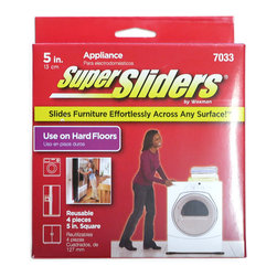 Waxman 5 inch Square Appliance Reusable Super Sliders 4 Pack (4703395N) - 5 inch square reusable sliders. Slides furniture effortlessly across any surface, Use on hard floors. Makes moving appliances easy for cleaning, repairing, finding lost items, etc. Can be used on refrigerators, freezers, washers, dishwashers, dryers and more