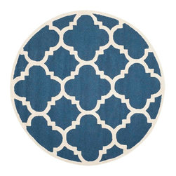 Safavieh - Cora Hand Tufted Rug, Navy / Ivory 6' X 6' - Construction Method: Hand Tufted. Country of Origin: India. Care Instructions: Vacuum Regularly To Prevent Dust And Crumbs From Settling Into The Roots Of The Fibers. Avoid Direct And Continuous Exposure To Sunlight. Use Rug Protectors Under The Legs Of Heavy Furniture To Avoid Flattening Piles. Do Not Pull Loose Ends; Clip Them With Scissors To Remove. Turn Carpet Occasionally To Equalize Wear. Remove Spills Immediately. Bring classic style to your bedroom, living room, or home office with a richly-dimensional Safavieh Cambridge Rug. Artfully hand-tufted, these plush wool area rugs are crafted with plush and loop textures to highlight timeless motifs updated for today's homes in fashion colors.