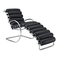 """LexMod - Ripple Chaise in Black - Ripple Chaise in Black - You need to at least imagine water in front of you to fully experience this piece. As with the ripple after-effects caused by the toss of a pebble, theres no telling where the Ripple Chaise Lounge will take you. For those who appreciate natural resolve, without the need to know the destination point, then Ripple is for you. The rounded polished steel tube arms, and ribbed leather seat, creates an intuitive and free-thinking environment that inspires. But while there is a starting point to this innovative design, there is no foreseeable end to this piece perfectly positioned for progress. For use by the pool, beach, or any patio area filled with that contemporary feel. Set Includes: One - Ripple Chaise Lounge Modern chair lounge chair, Ergonomic ribbid leather seat, Foam padding underneath leather, Polished stainless steel frame Overall Product Dimensions: 66""""L x 19""""W x 33.5 - 41""""H Seat Dimensions: 20""""L x 19""""W x 21 - 24""""H Armrest Dimensions: 1""""W x 20.5 - 23.5""""HBACKrest Dimensions: 19""""W x 23.5""""H Space Between Seat and Armrest: 3.5 - 9""""H Cushion Height: 2.5""""Hbrase Dimensions: 20""""L x 19""""W - Mid Century Modern Furniture."""