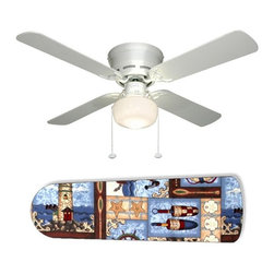 "Boats Sailboats and Lighthouses 42"" Ceiling Fan and Lamp - 42-inch 4-blade ceiling fan with a dome lamp kit that comes with custom blades. It has a white flushmount fan base. It has an energy efficient 3-speed reversible airflow motor for year long comfort. It comes with complete installation/assembly instructions. The blades can be cleaned with a damp cloth. It is made with eco-friendly/non-toxic products. This is brand new and shipped in the original box. This is not a licensed product, but is made with fully licensed products. Note: Fan comes with custom blades only."