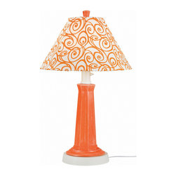 Patio Living Concepts - Patio Living Concepts Nantucket 35 Inch Table Lamp w/ Daiquiri Base & Orange Swi - 35 Inch Table Lamp w/ Daiquiri Base & Orange Swirl Shade belongs to Nantucket Collection by Patio Living Concepts Distressed orange daiquiri resin lamp base highlights this stylish outdoor lamp. Two level dimming switch and 16' weatherproof cord and plug. Unbreakable polycarbonate waterproof bulb enclosure allows the use of a standard 100 watt light bulb. Lamp (1)